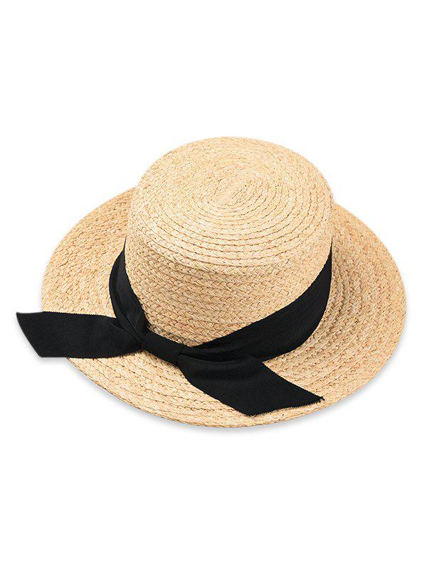 Affordable Bowknot Embellished Flat Top Straw Hat