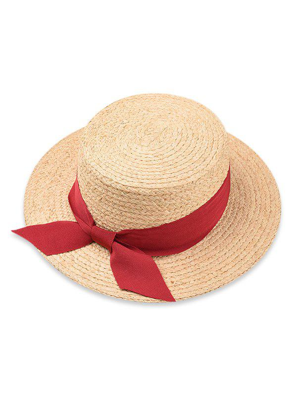 New Bowknot Embellished Flat Top Straw Hat