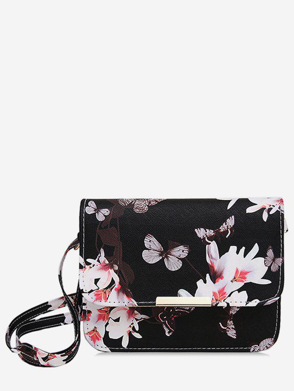 Butterfly and Flowers Print Flap Crossbody Bag