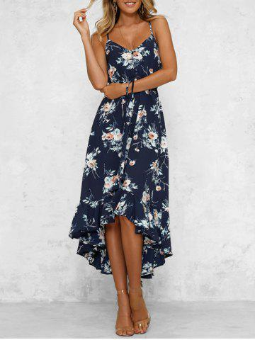 Bohemian Floral Print High Low Midi Dress