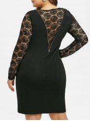 Plus Size Sheer Lace Panel Zippered Dress -