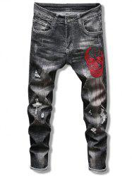Skull Pattern Embroidery Ripped Jeans -