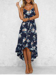 Bohemian Floral Print High Low Midi Dress -