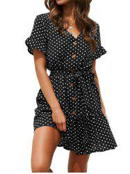 V Neck Polka Dot Button Dress -
