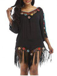 Circle Crochet Fringed Cover Up -