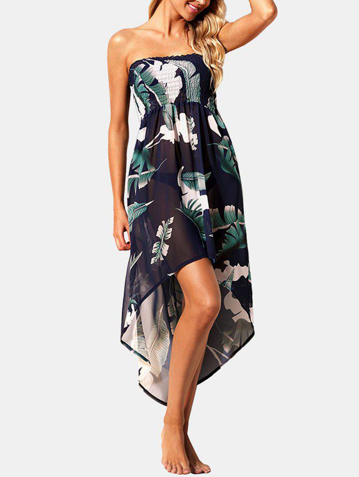 Chic Smocked Printed High Low Hem Cover Up Dress