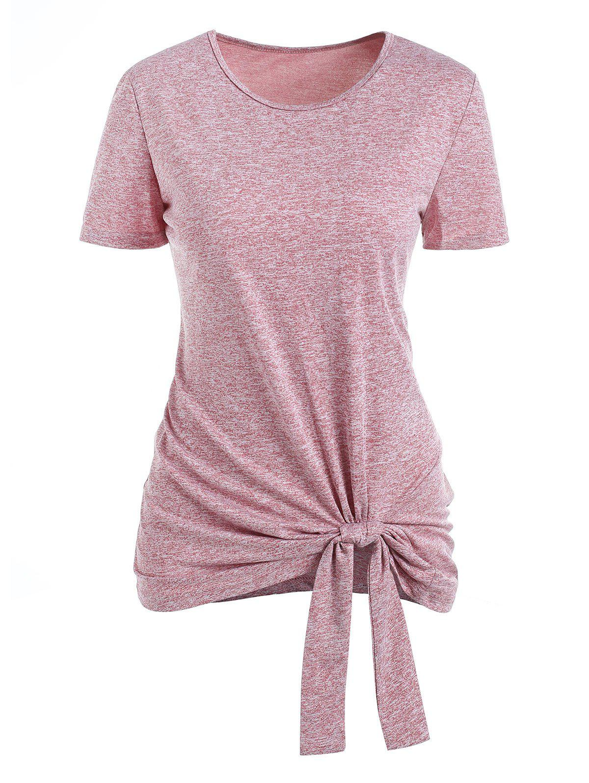 Outfit Space Dye Knotted Short Sleeve Tee