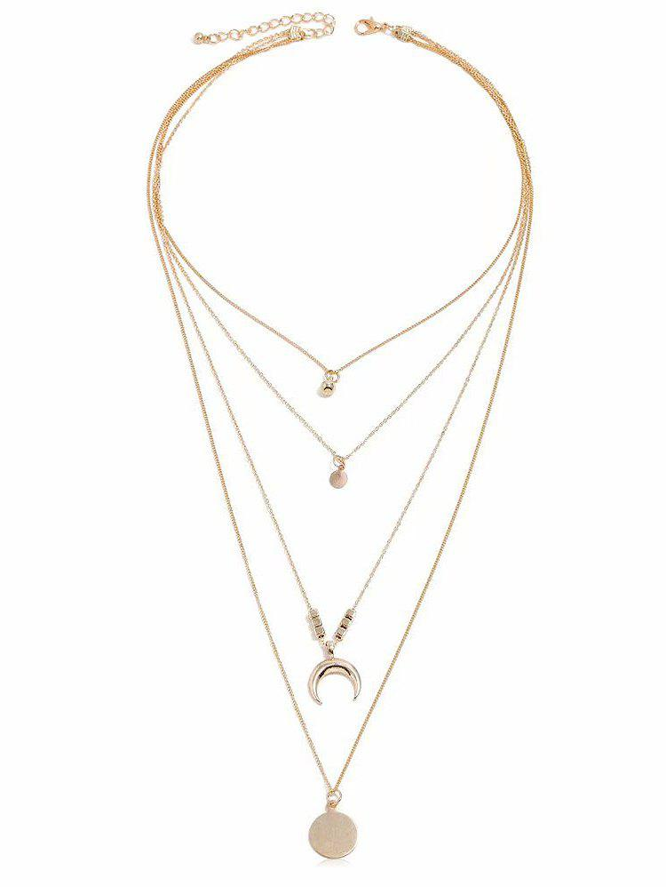 Store Moon Circle Pendant Layered Necklace