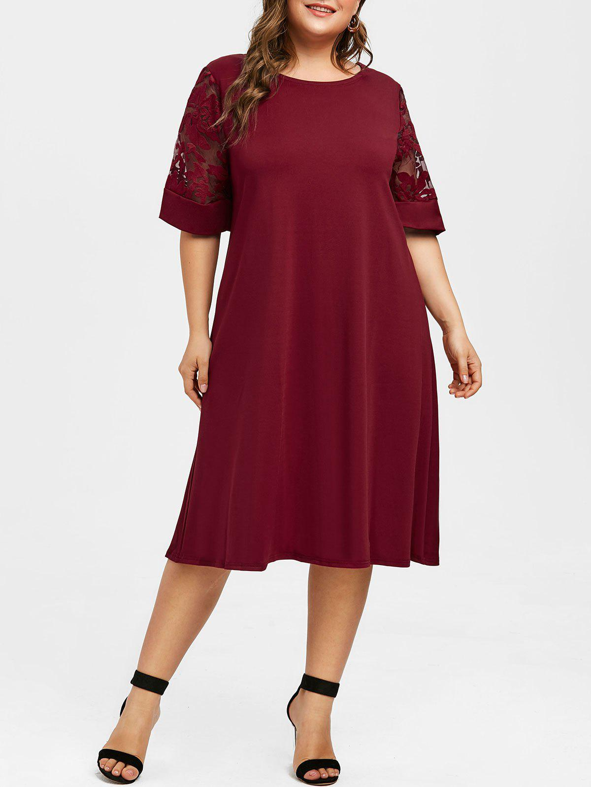 Robe Droite Brodee A Demi Manches De Grande Taille En Red Wine Rosegal Com France