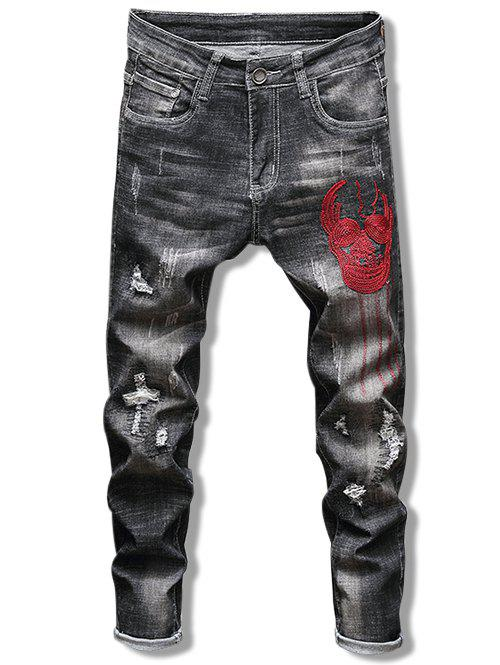 Shops Skull Pattern Embroidery Ripped Jeans