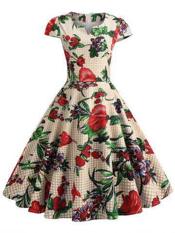 Plaid and Floral Print Cap Sleeve Vintage Dress