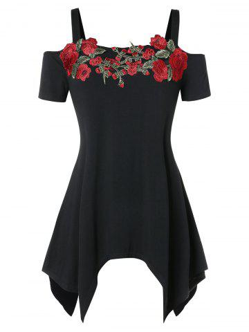 Cold Shoulder Embroidered Asymmetrical Plus Size T-shirt