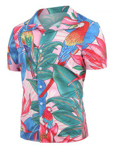 Bird Floral Pattern Short Sleeves Shirt