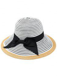 Bowknot Decorated Striped Straw Sun Hat -