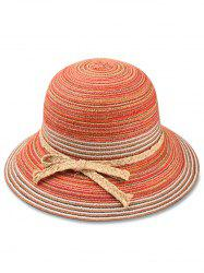 Straw Striped Bowknot Decorated Sun Hat -