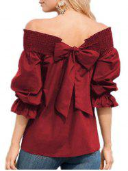Bowknot Off The Shoulder Ruffle Blouse -
