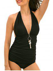 Ruched Halter Neck Tankini Set -
