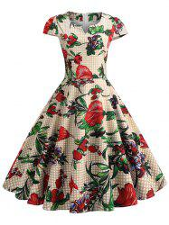 Plaid and Floral Print Cap Sleeve Vintage Dress -