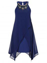 Plus Size Rhinestone Overlay Trapeze Dress -