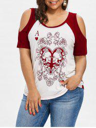 Plus Size Cold Shoulder Skull Floral Graphic Tee -