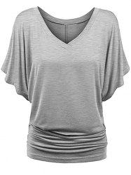 Batwing Sleeve V Neck Ruched T-shirt -