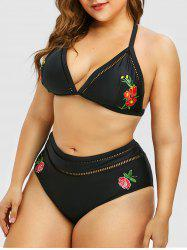 Plus Size Floral Embroidery Halter Neck Triangle Bikini Set -