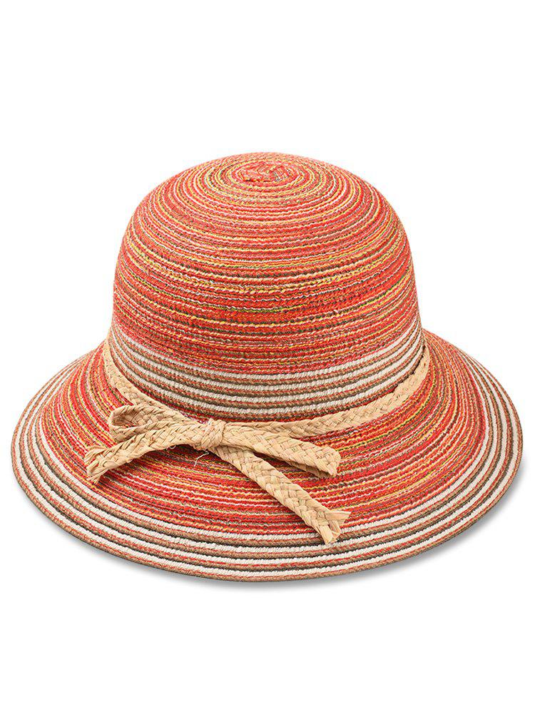 Sale Straw Striped Bowknot Decorated Sun Hat