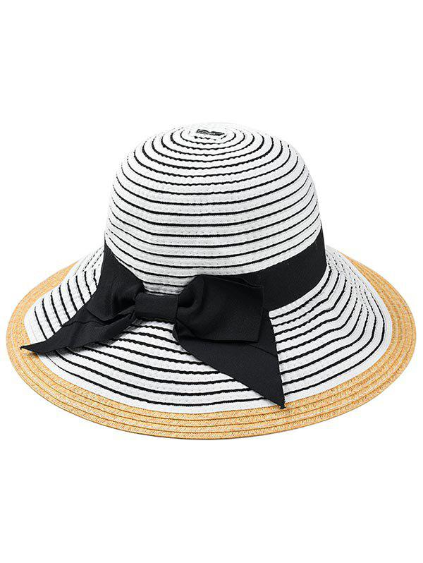 Shop Bowknot Decorated Striped Straw Sun Hat