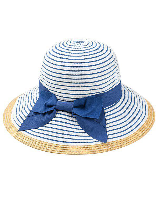 Latest Bowknot Decorated Striped Straw Sun Hat