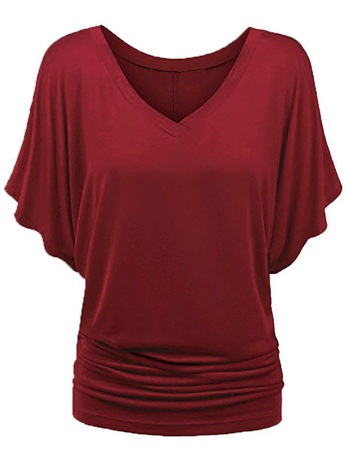 Buy Batwing Sleeve V Neck Ruched T-shirt