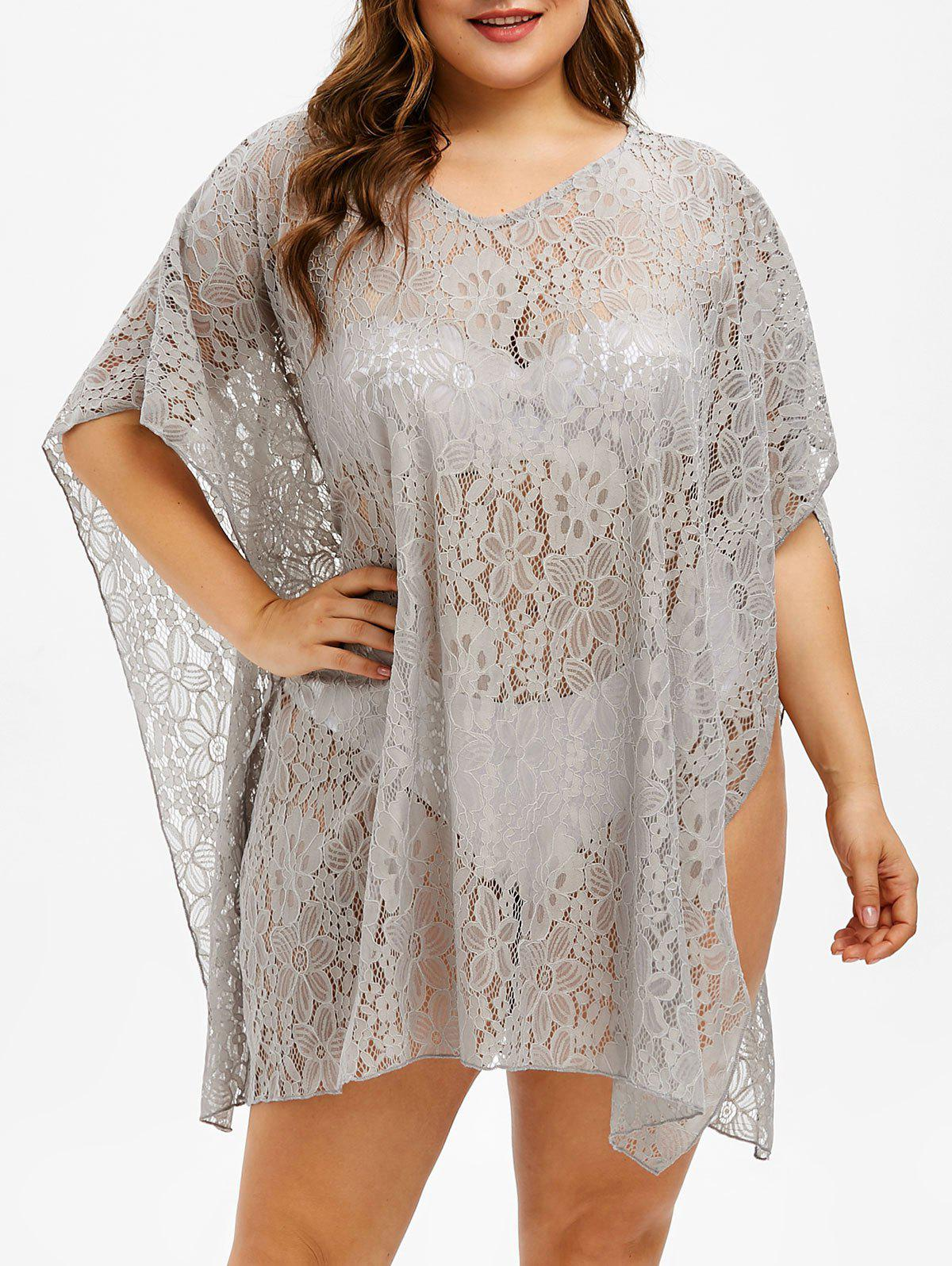 f0915bf0da0aa V Neck Plus Size Lace Cover Up - One Size. rosegal
