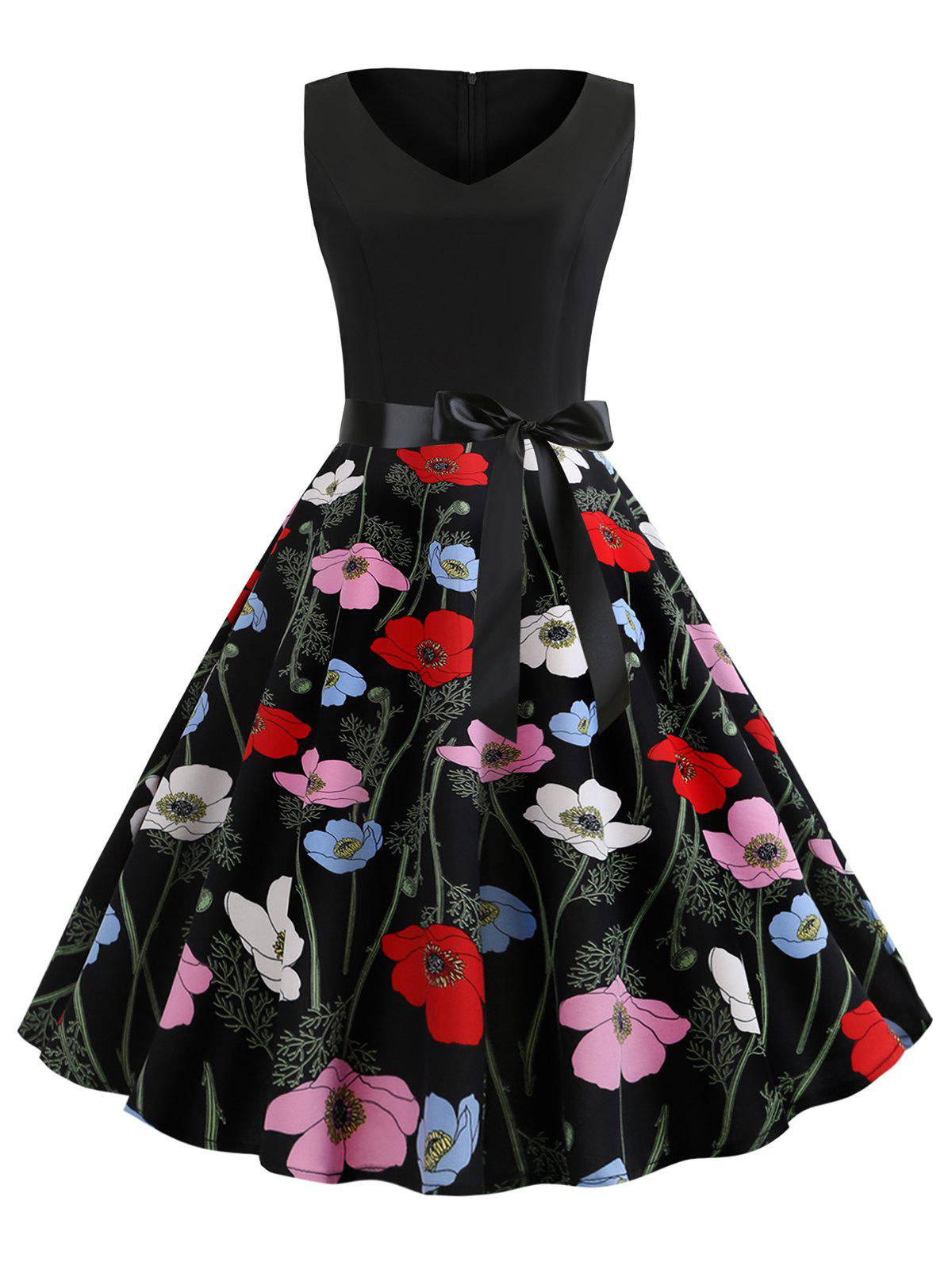 Floral Print Sleeveless A Line Dress with Belt