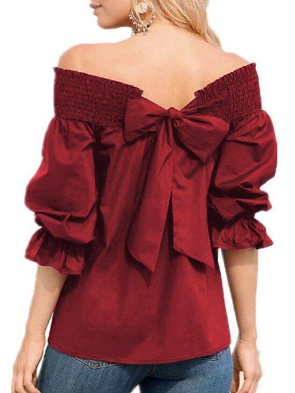 Shops Bowknot Off The Shoulder Ruffle Blouse