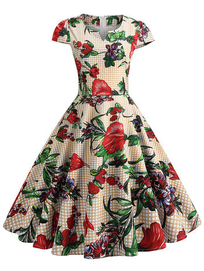 Buy Plaid and Floral Print Cap Sleeve Vintage Dress