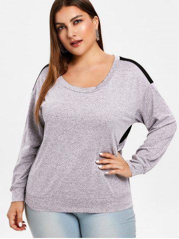 Sheer Mesh Insert Cut Out Plus Size Sweatshirt