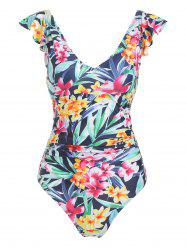 Floral Print Ruffle Strap One-Piece Swimsuit -