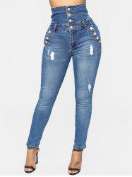 High Waist Button Ripped Jeans -