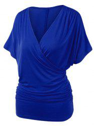 Plus Size V Neck Ruched Draped Wrap T-shirt -