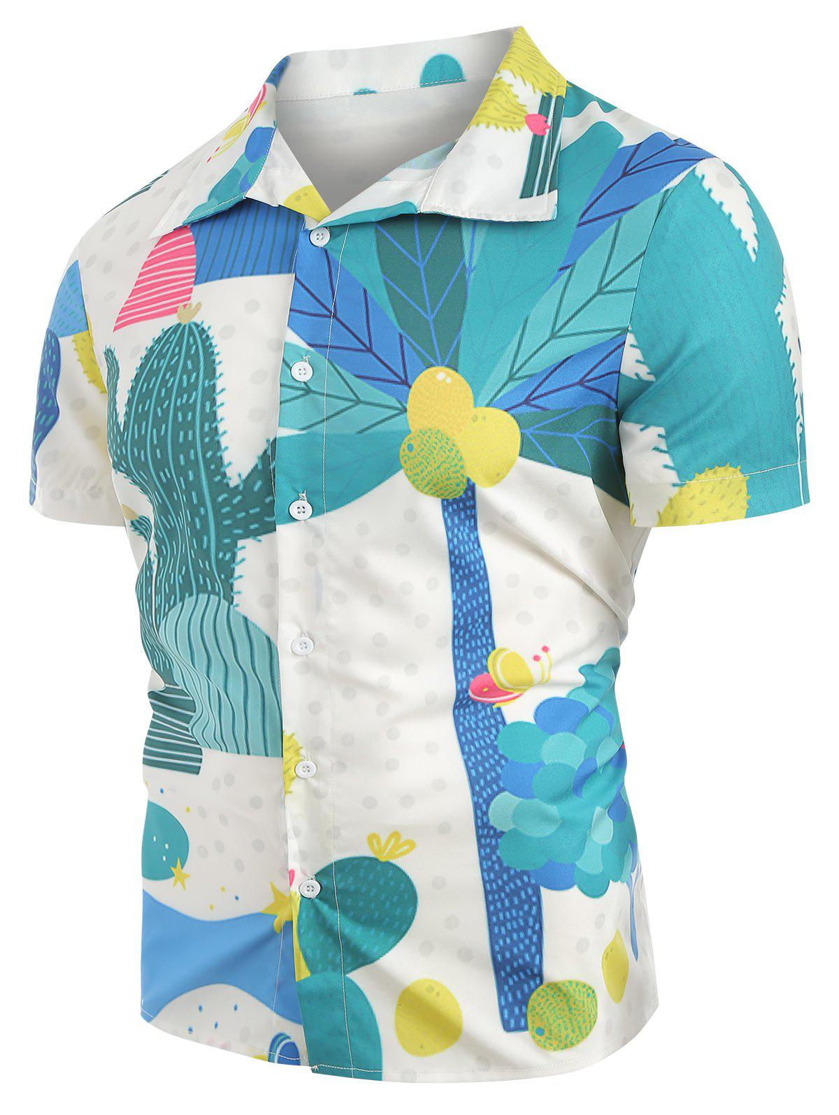 Cactus Plant Pattern Leisure Shirt, Macaw blue green