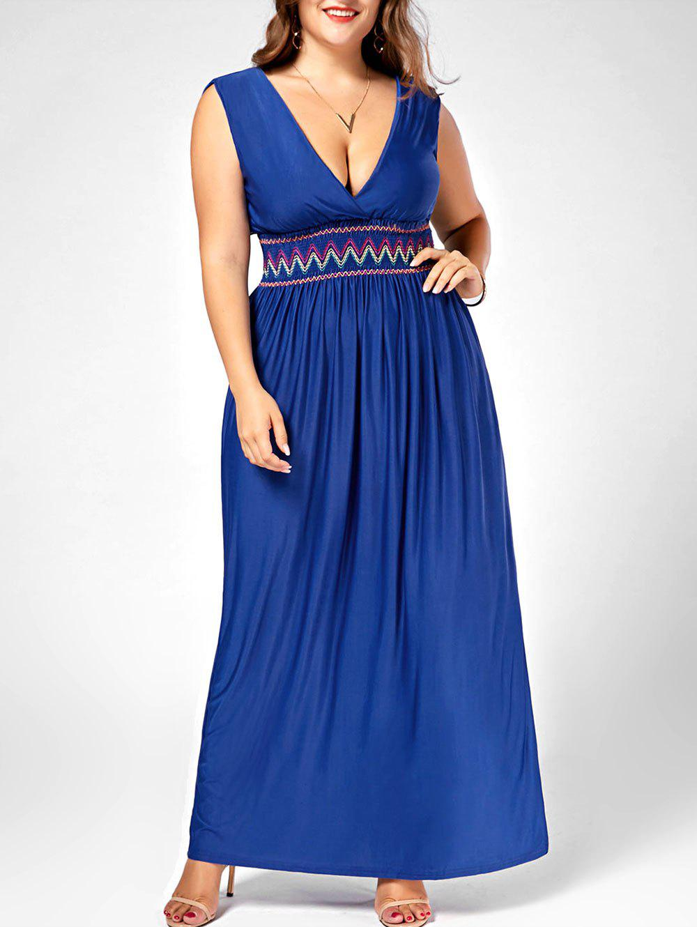 40% OFF] Plus Size Plunging Neckline Maxi Party Dress | Rosegal