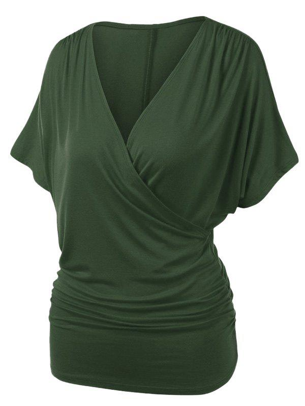 Trendy Plus Size V Neck Ruched Draped Wrap T-shirt