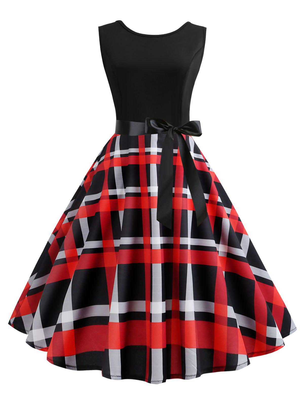 Hot Belted Checked Print A Line Dress