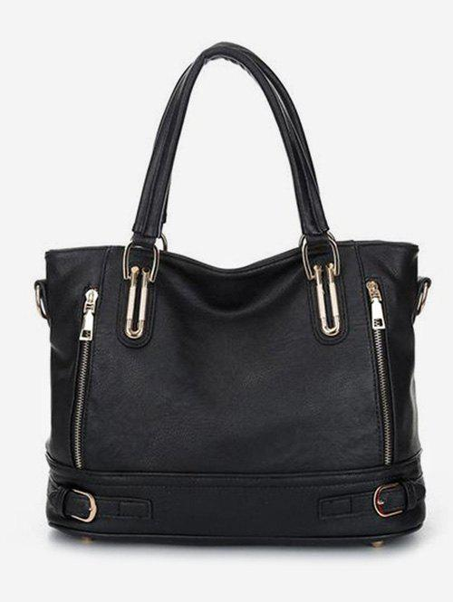 Outfits Leather Zipper Decorated Handbag