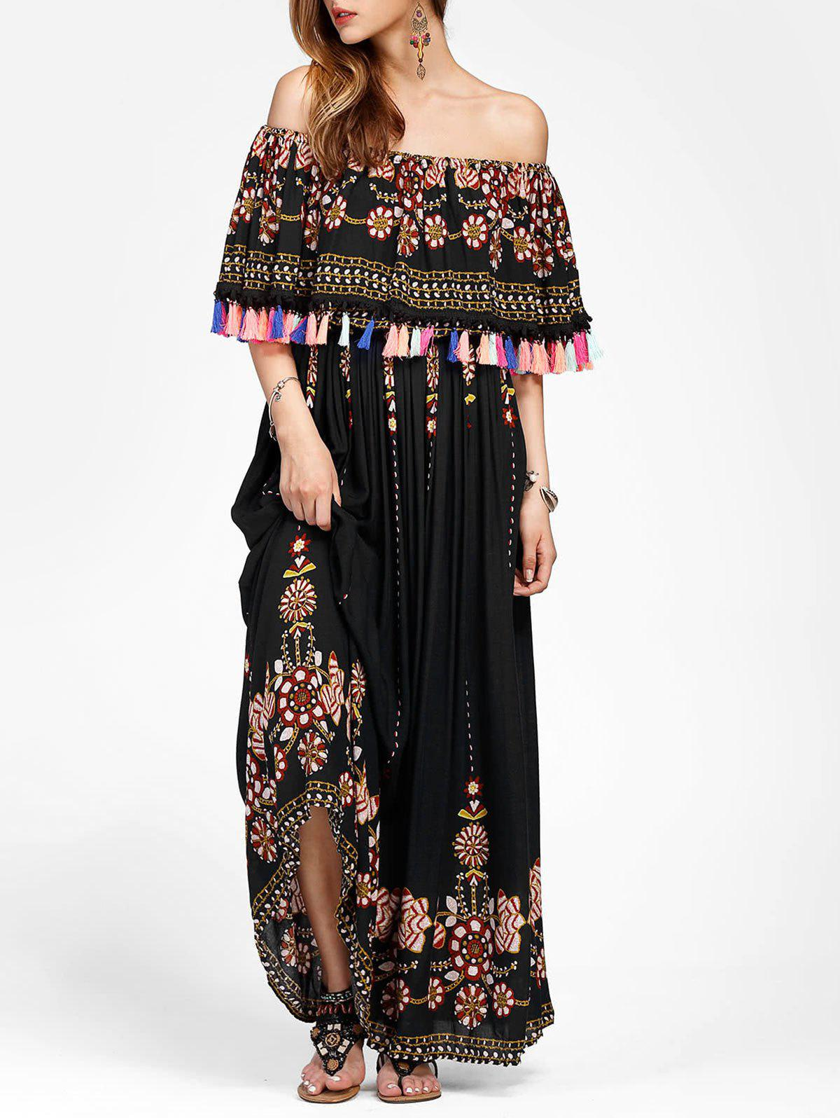 9addd3ab7c 44% OFF] Bohemian Off Shoulder Ruffled Floral Print Maxi Dress | Rosegal
