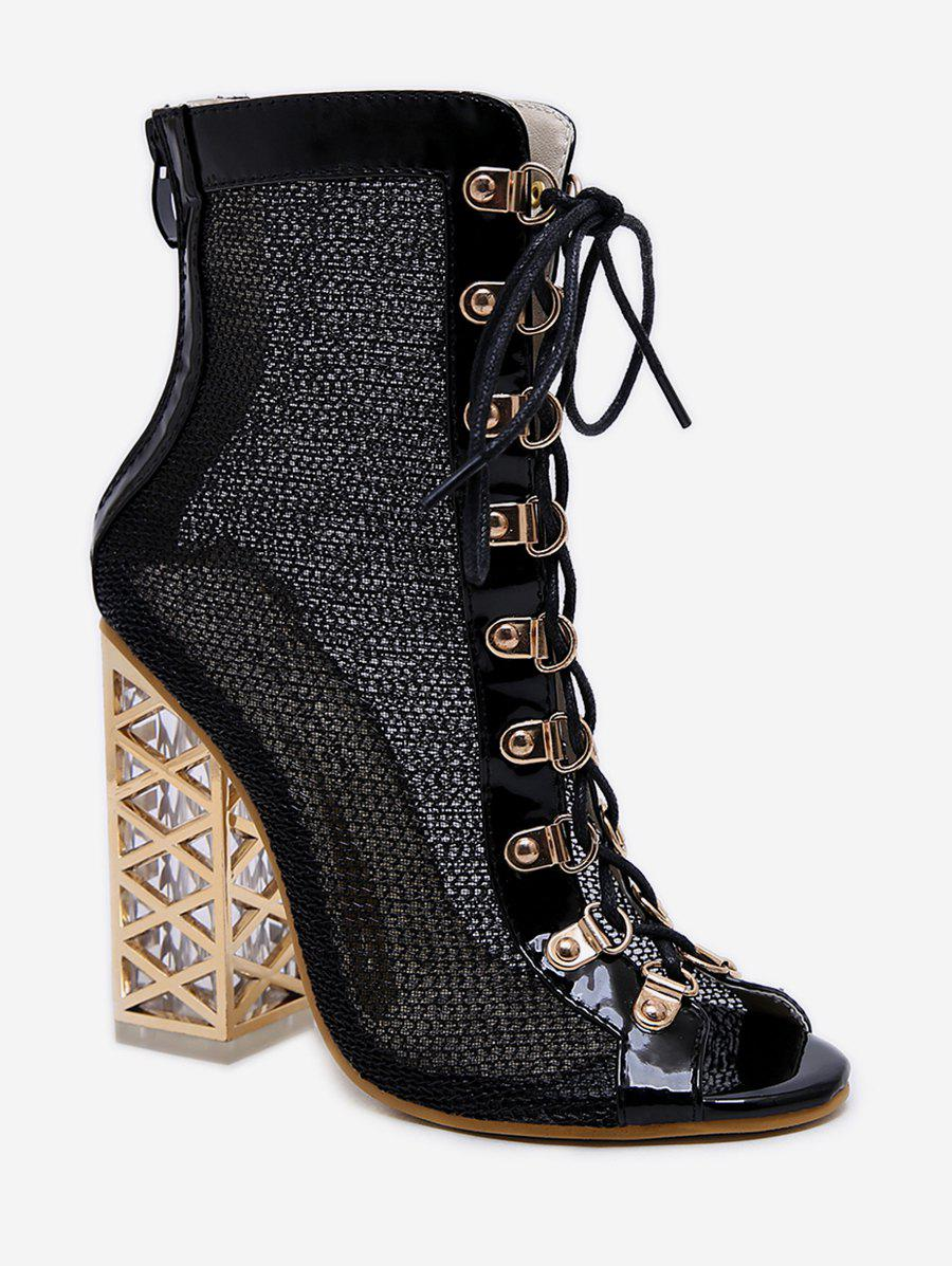 Outfits Shiny Metallic Lace Up High Heel Boots