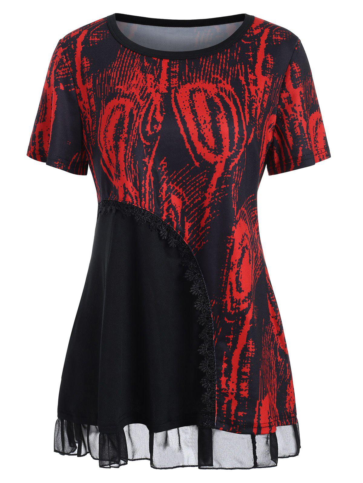 Latest Lace Panel Printed T-shirt