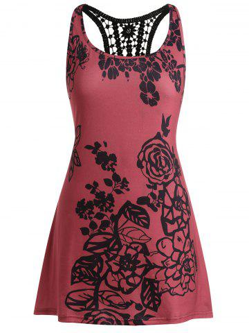 Plus Size Printed Lace Insert Racerback Top