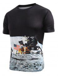 Astronaut American Flag Pattern T-shirt -