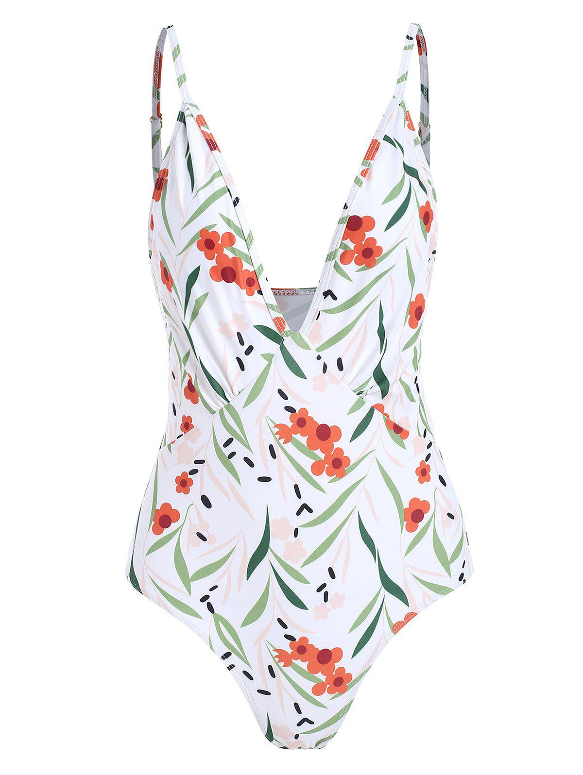 Fashion Floral Print Plunge Padded One-Piece Swimsuit