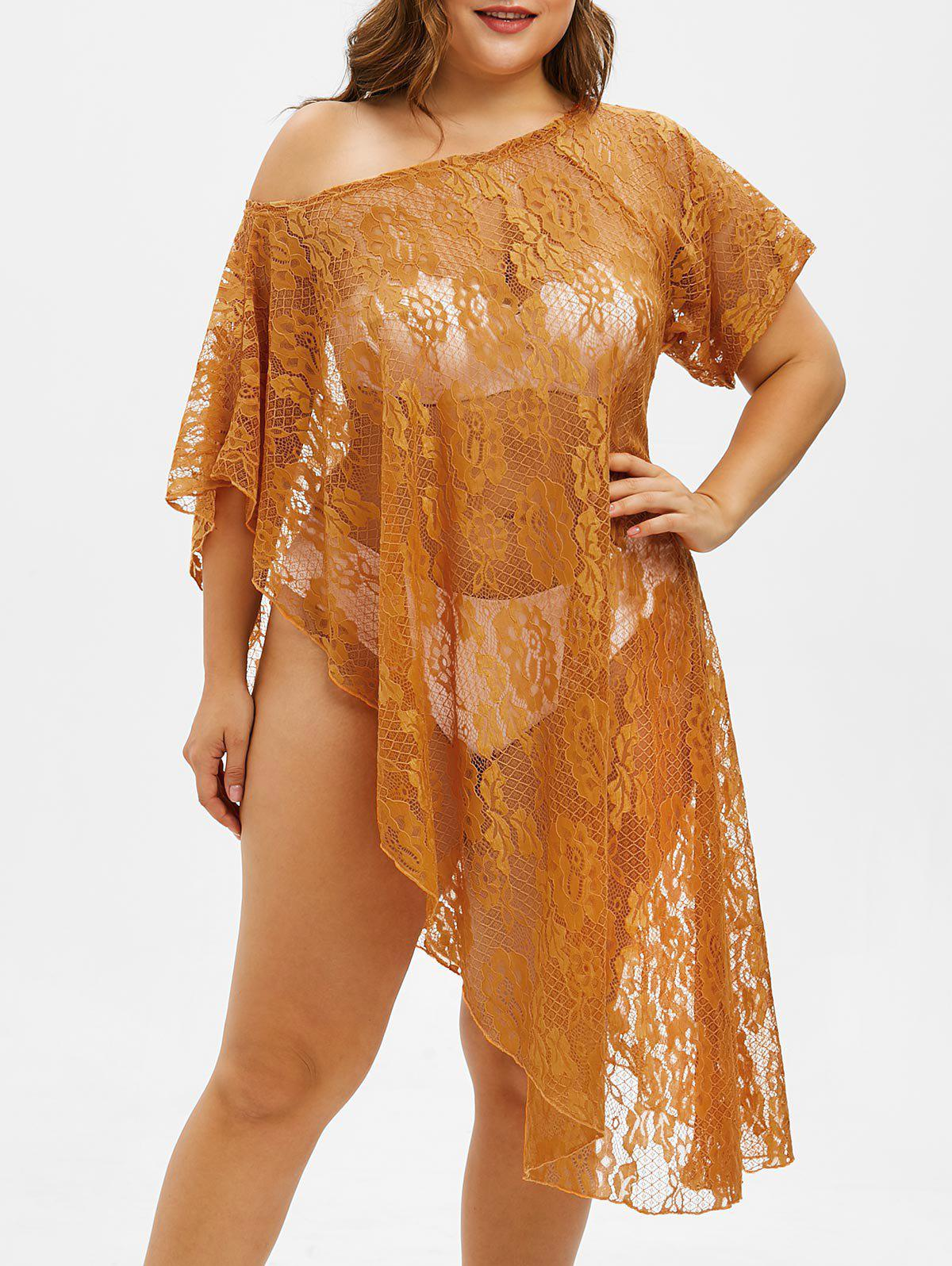 Plus Size Asymmetrical Lace Cover Up